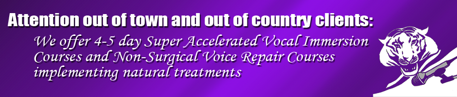 We offer 4-5 day Super Accelerated Vocal Immersion Courses and Non-Surgical