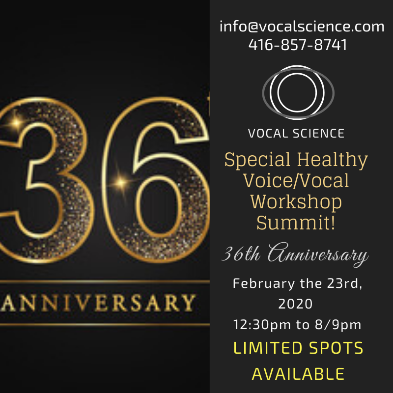 36th anni Vocal Science Ads - 36th Anniversary Workshop