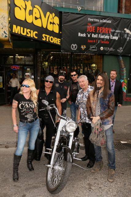 Nick Cantanese Black Label Society. Gary Hoey, Bumblefoot at Steve's for the pre launch of the Joe Perry Rock Camp