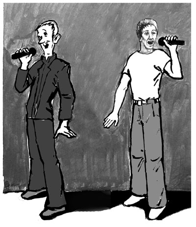 vocal cartoon - two singers